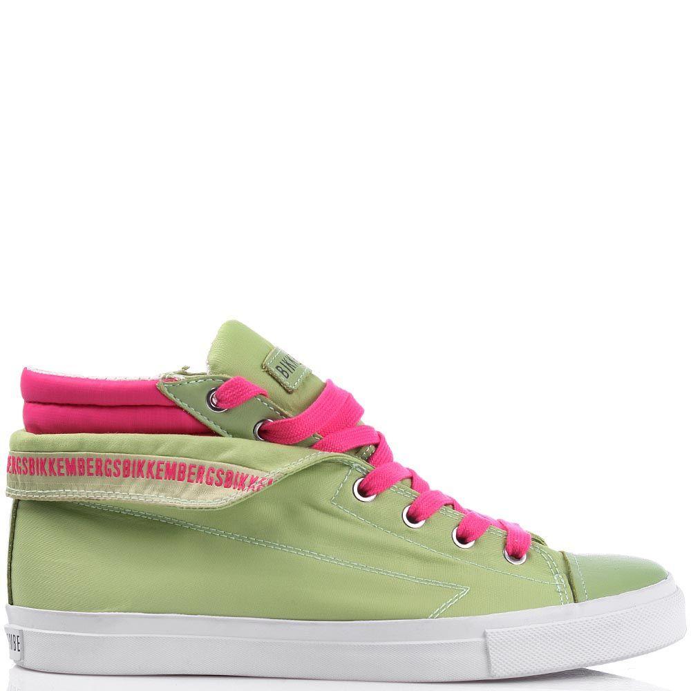 Текстильные кеды Bikkembergs зеленого цвета с ярко-розовыми вставками