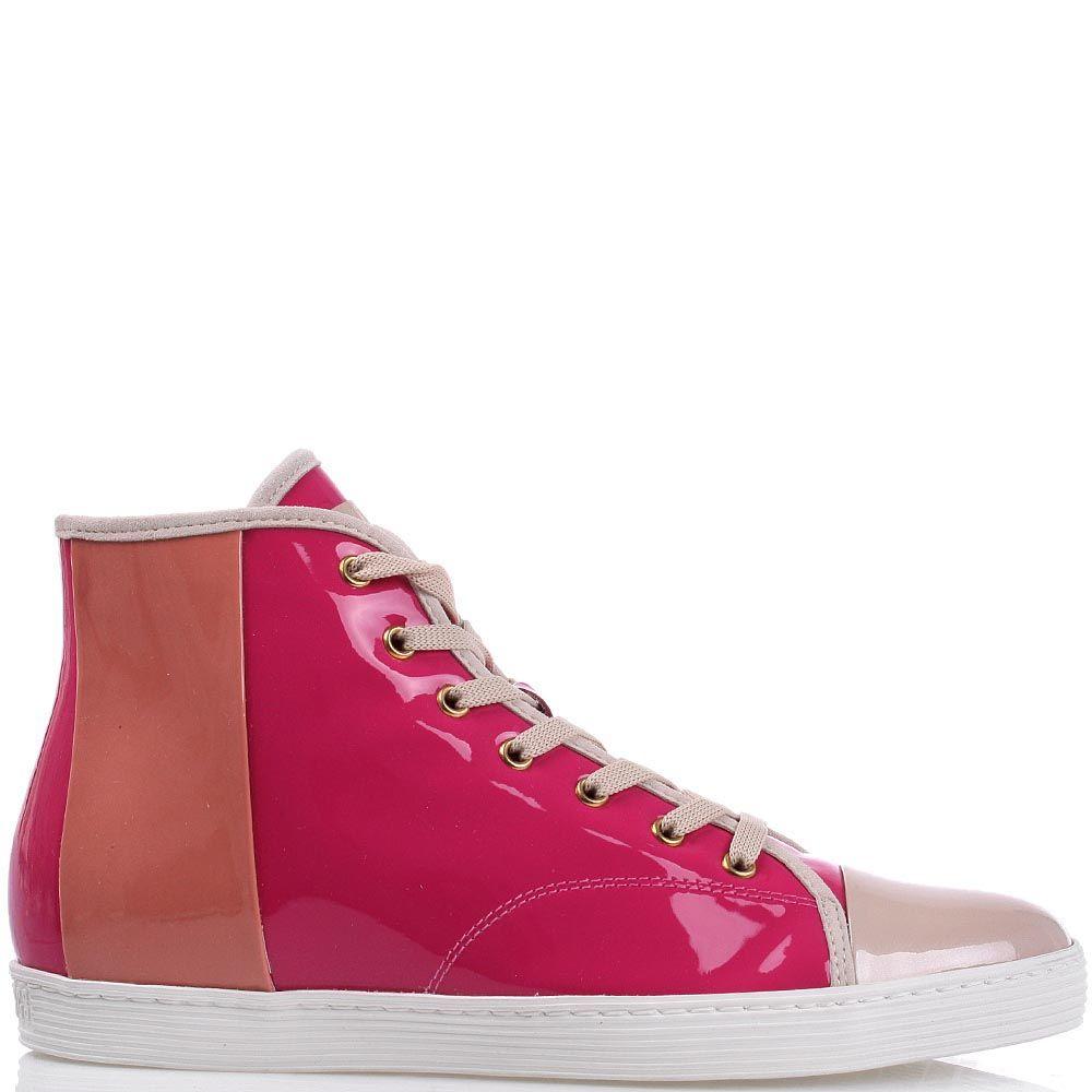 Лаковые высокие кеды Bikkembergs из сочетания розовой и бежевой кожи