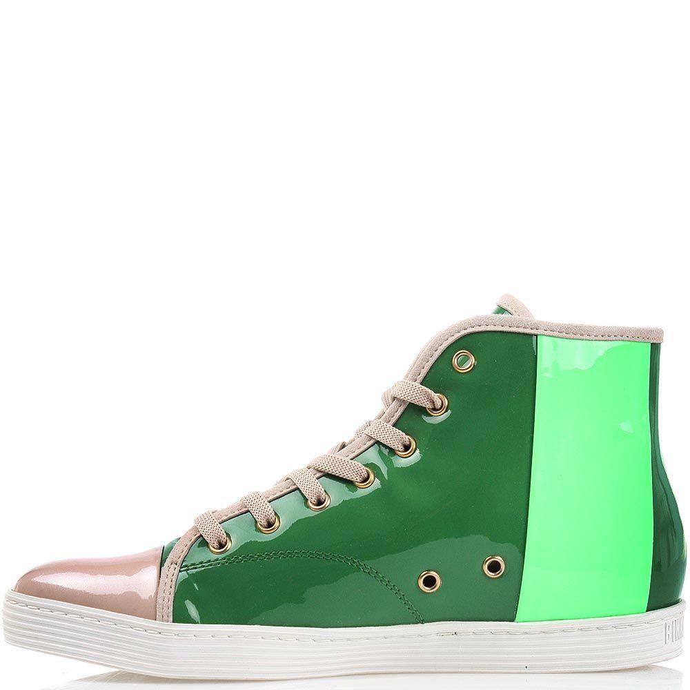 Высокие кеды Bikkembergs из лаковой кожи зеленого и салатового цвета