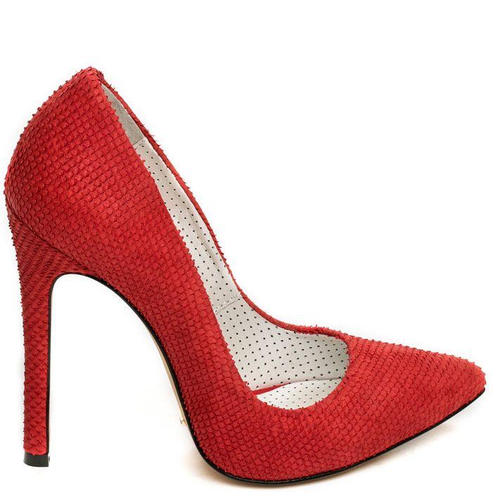 Туфли Modus Vivendi красного цвета из кожи с тиснением под кожу змеи