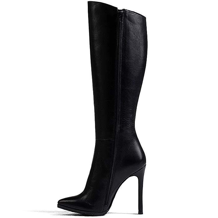 Высокие сапоги Modus Vivendi кожаные черные на высоком каблуке