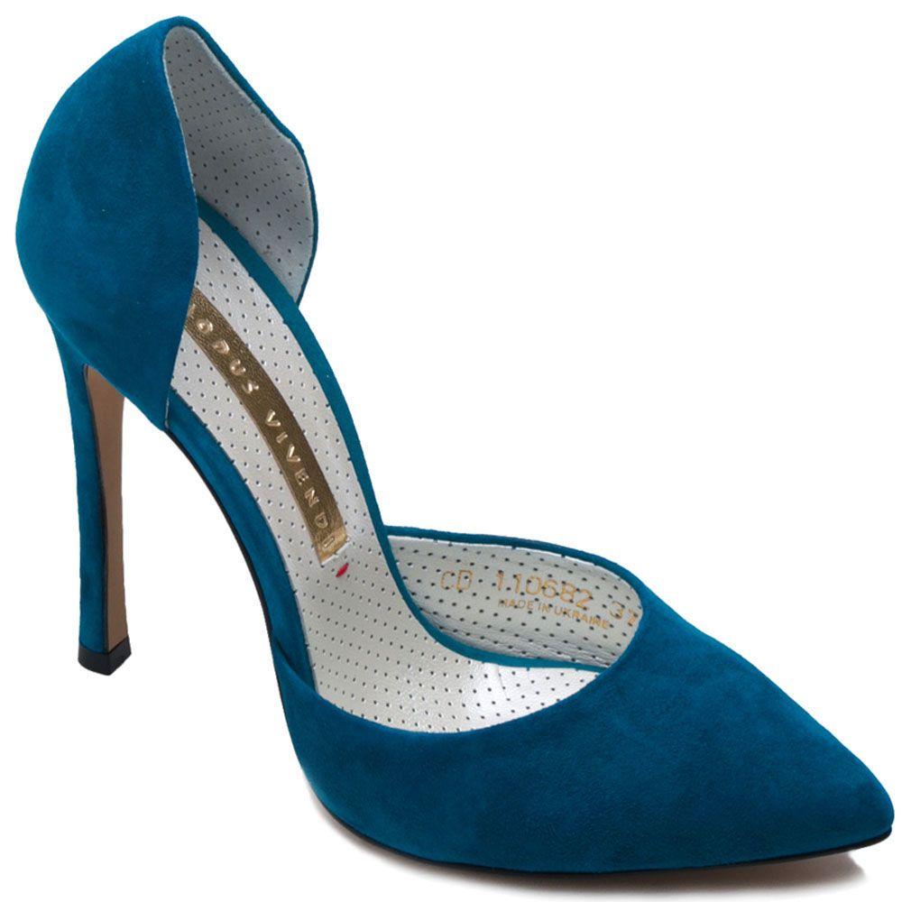 Туфли Modus Vivendi из натуральной замши синего цвета на шпильке
