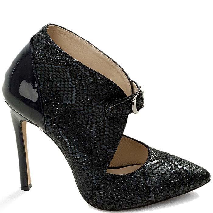 Кожаные туфли Modus Vivendi закрытого типа с имитацией кожи змеи