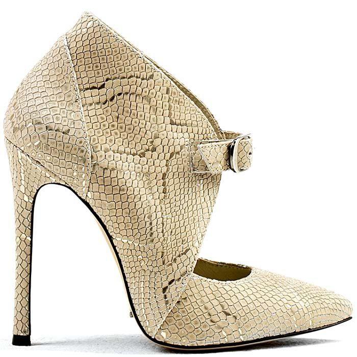 Бежевые туфли Modus Vivendi закрытого типа с имитацией кожи змеи