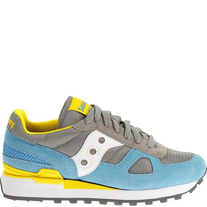 Женские кроссовки Saucony Shadow Original серые с желто-голубыми вставками