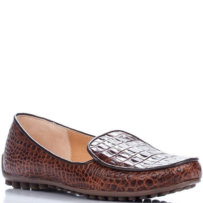 Кожаные мокасины Modus Vivendi коричневого цвета с имитацией крокодиловой кожи