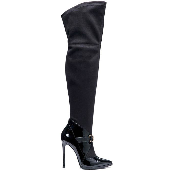 Сапоги-чулки из лаковой кожи черного цвета Modus Vivendi с текстильным верхом