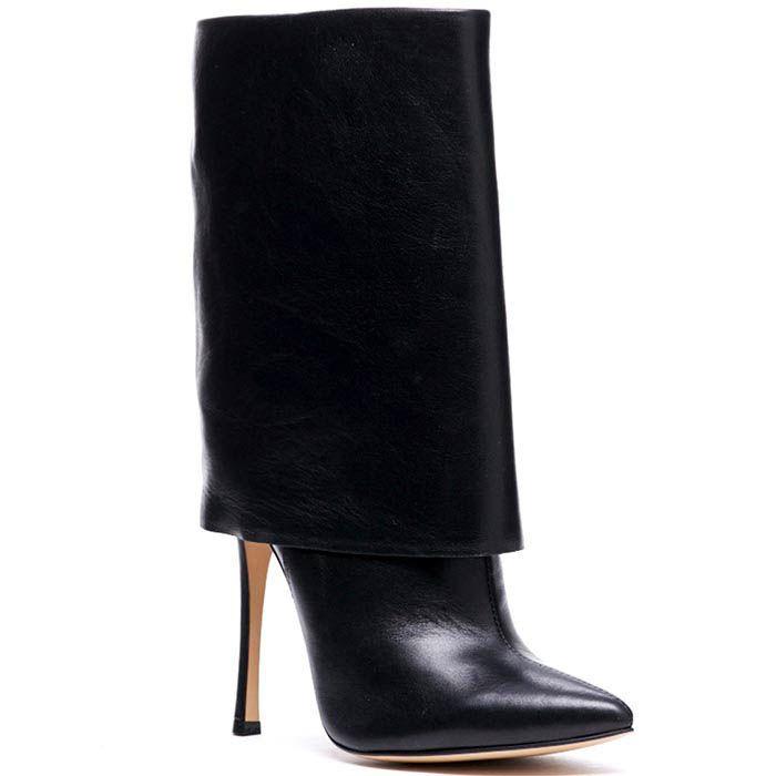 Кожаные сапоги черного цвета Modus Vivendi с широким отворотом