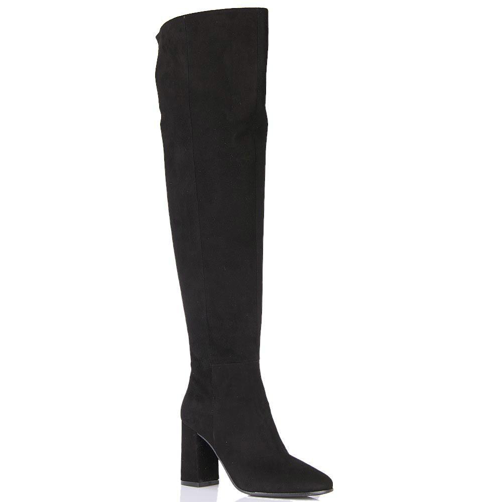 Ботфорты Bianca Di черного цвета замшевые с замшевым каблуком