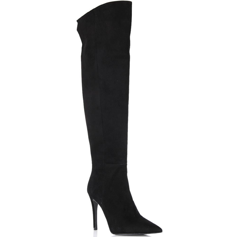 Ботфорты Bianca Di черного цвета замшевые с каблуком-шпилькой