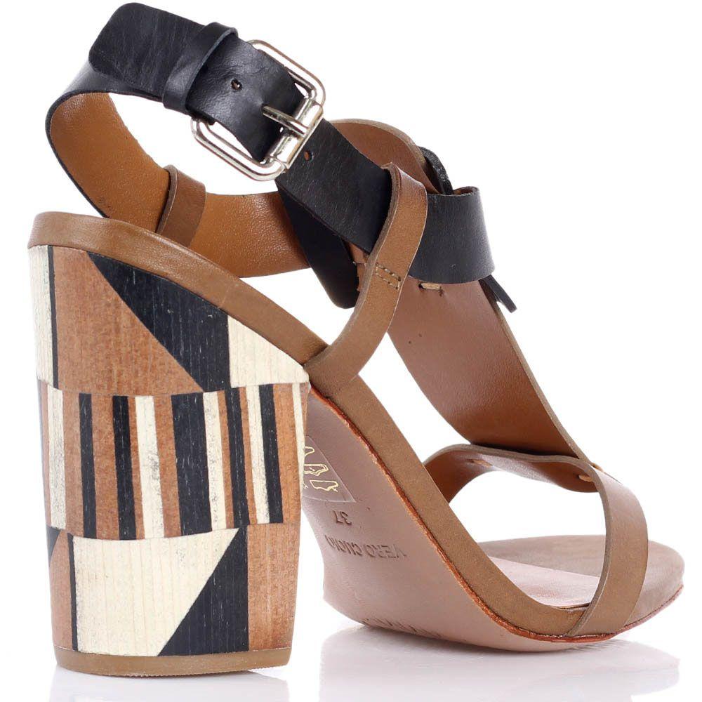 Босоножки Vicenza из геометричных деталей кожи и абстрактным рисунком на каблуке