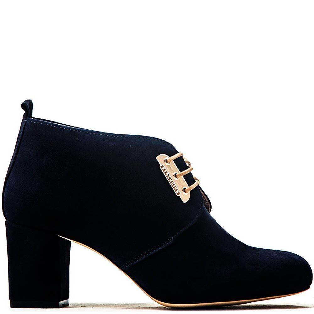 Ботильоны Modus Vivendi темно-синего цвета на устойчивом каблуке