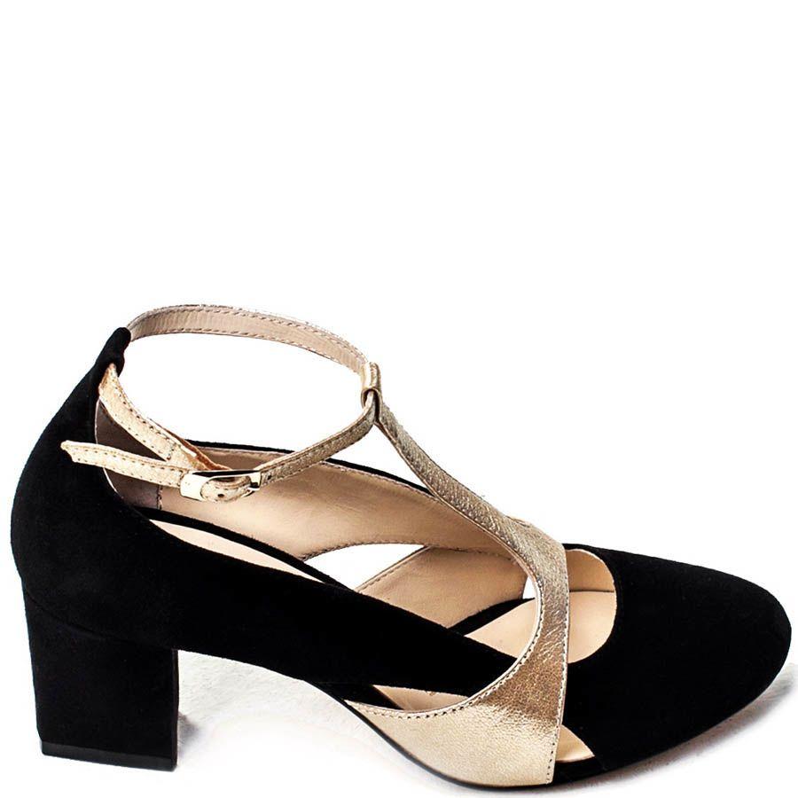 Открытые туфли Modus Vivendi из замши с кожаными вставками золотистого цвета
