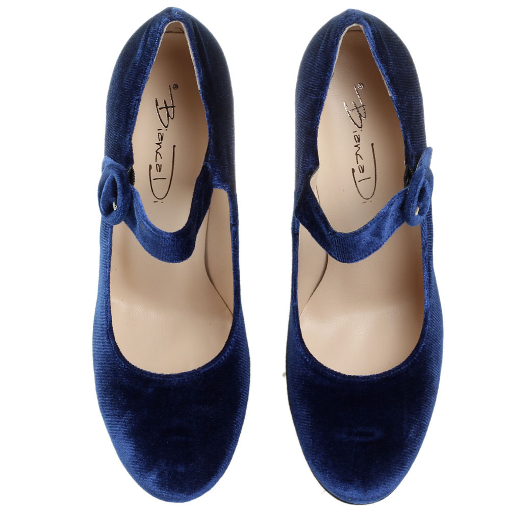 Бархатные туфли синего цвета Bianca Di на высоком устойчивом каблуке