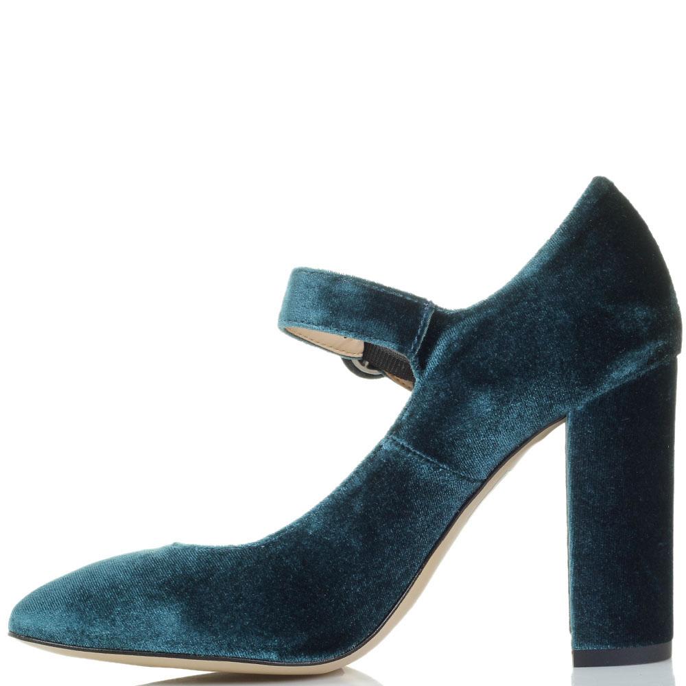 Бархатные туфли голубого цвета Bianca Di на ремешке и устойчивом каблуке