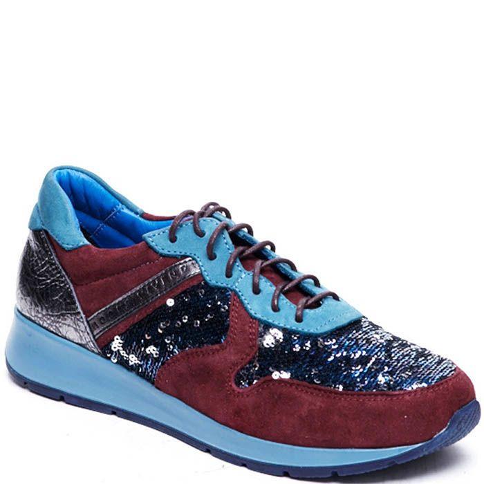 Кроссовки из кожи с замшевыми вставками бордового цвета Modus Vivendi украшенные пайетками