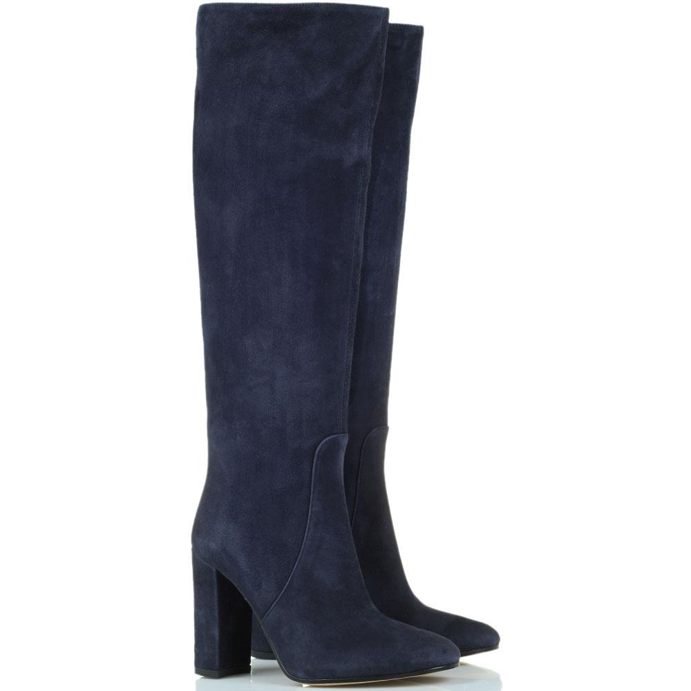 Высокие замшевые сапоги Bianca Di синего цвета