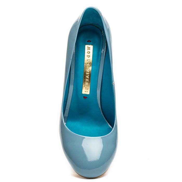 Туфли Modus Vivendi из лаковой кожи голубого цвета на высоком устойчивом каблуке