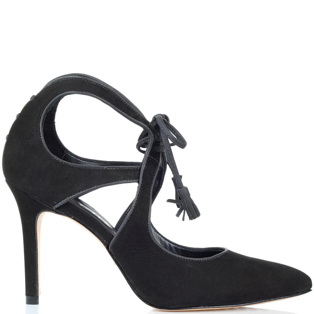 Черные туфли из нубука Vicenza на шнуровке