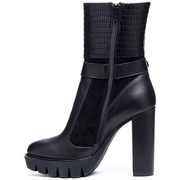 Ботинки из кожи и замши черного цвета Modus Vivendi на толстом каблуке и платформе