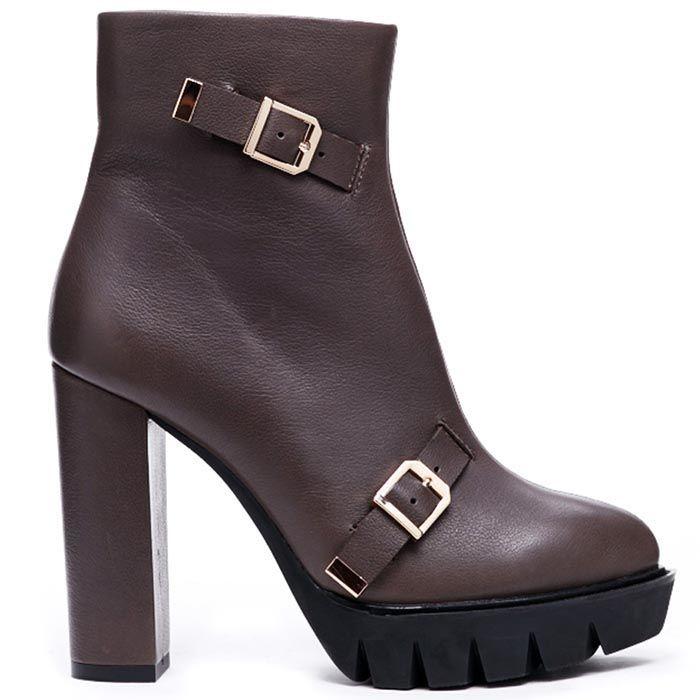 Кожаные ботинки коричневого цвета Modus Vivendi с декором в виде пряжек