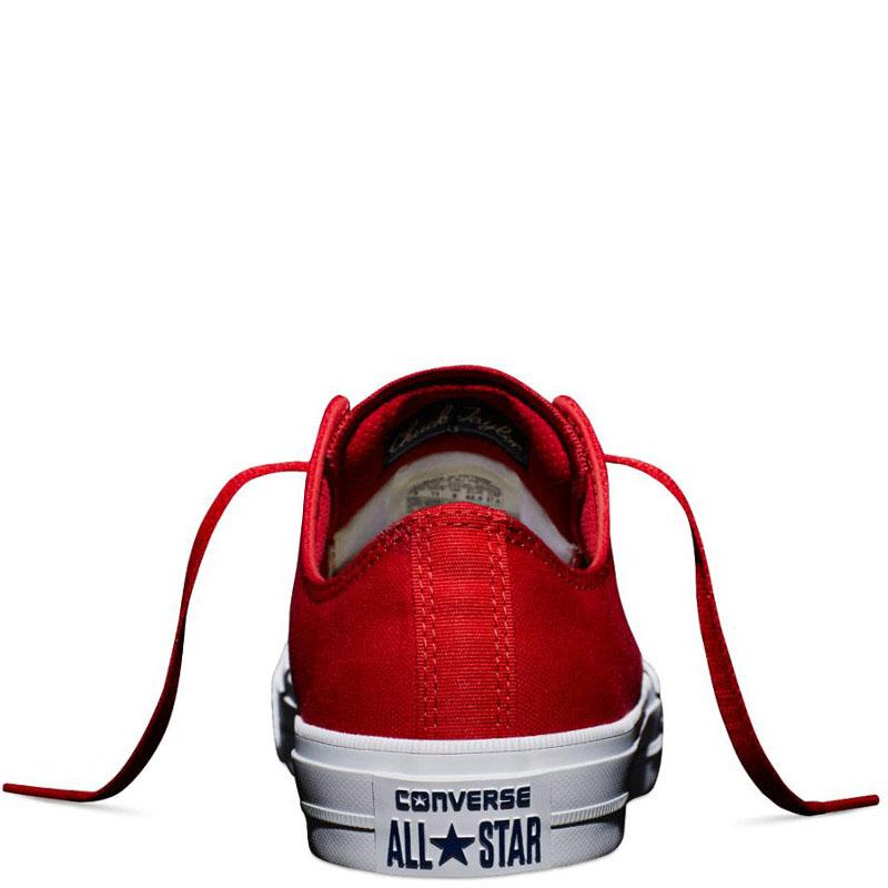 Низкие красные кеды Converse Chuck II с белой подошвой