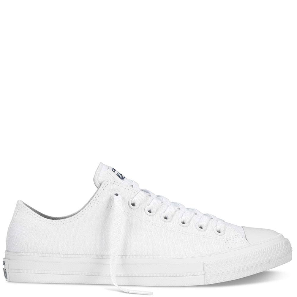 Низкие белые кеды Converse Chuck II на белой подошве