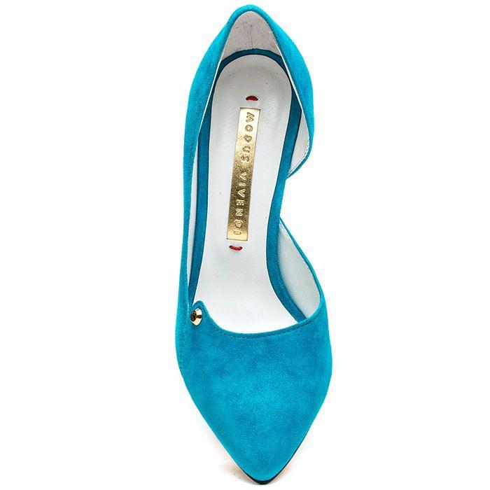 Туфли-лодочки Modus Vivendi из замши ярко-голубого цвета