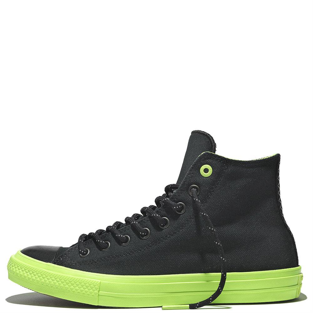 Высокие кеды Converse Chuck II черного цвета с салатовой подошвой