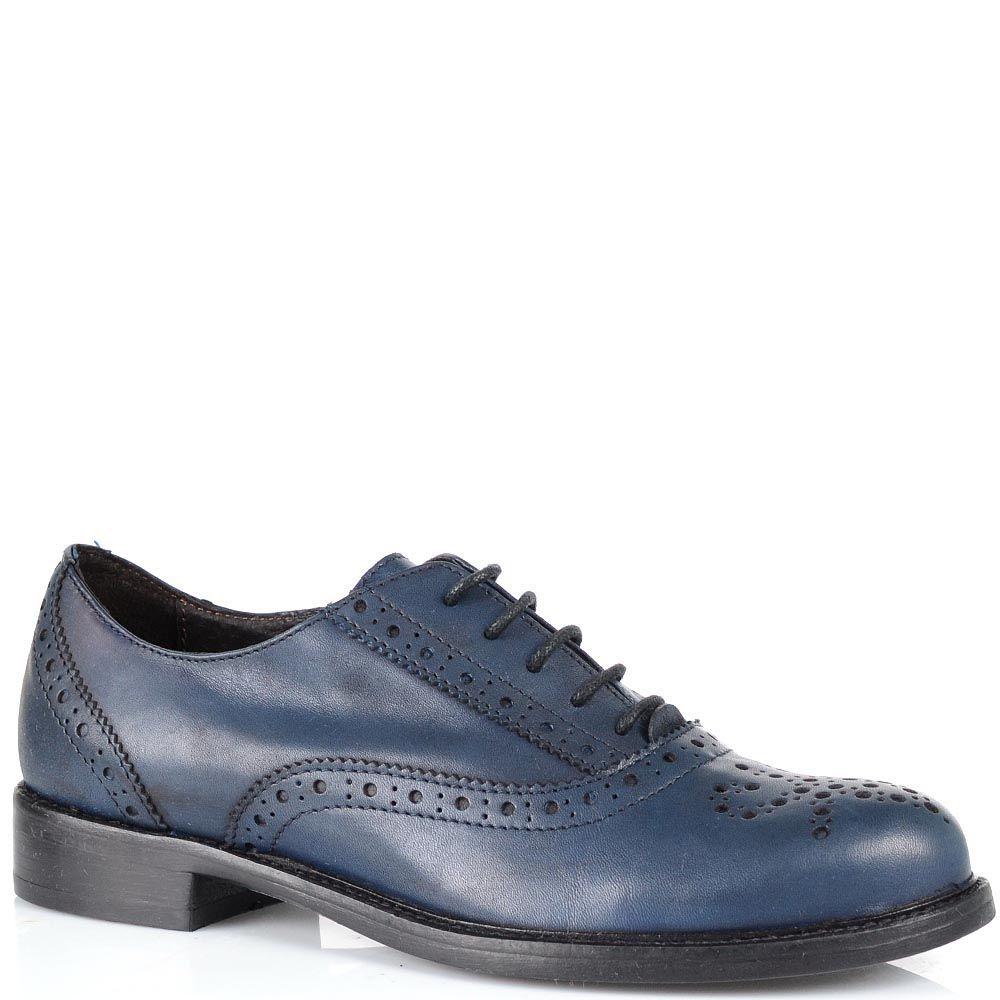 Женские кожаные туфли с перфорацией Fabbrica Morichetti темно-синие