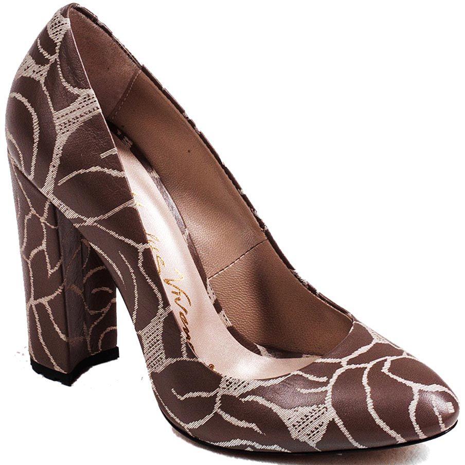 Туфли Modus Vivendi на высоком устойчивом каблуке из коричневой кожи с серым растительным рисунком