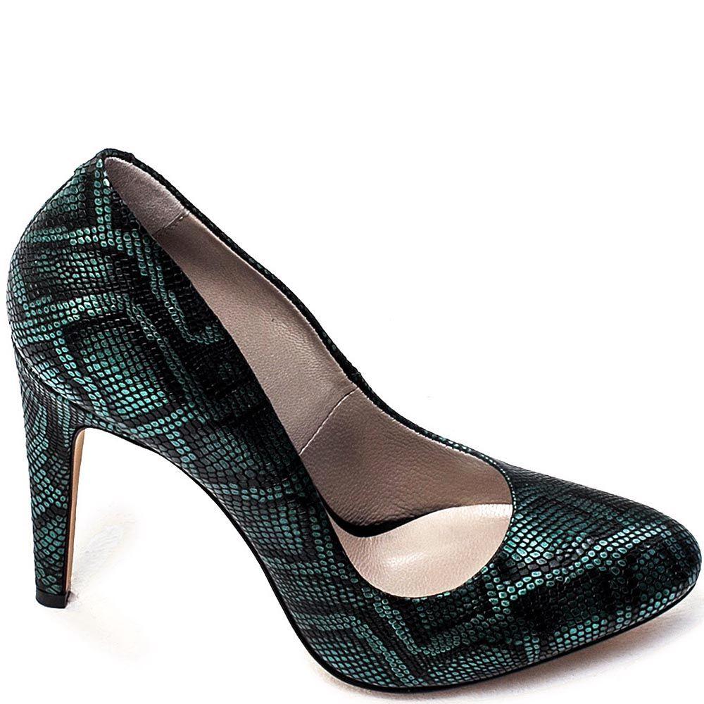 Туфли Modus Vivendi из кожи черного цвета с бирюзовым принтом под рептилию