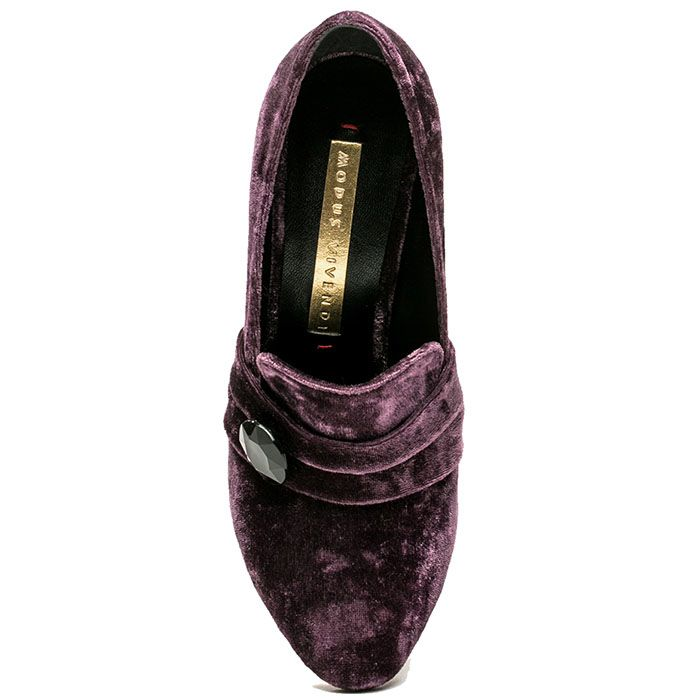 Туфли Modus Vivendi из бархата с цветочным принтом на каблуке