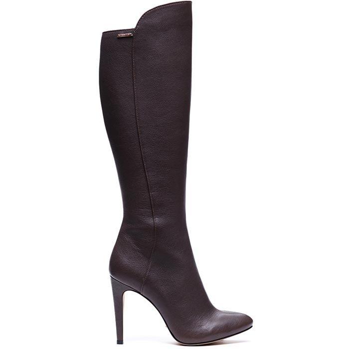 Высокие кожаные сапоги Modus Vivendi коричневого цвета