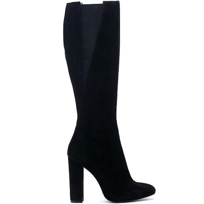 Замшевые сапоги черного цвета со вставками в виде резинок Modus Vivendi на толстом каблуке