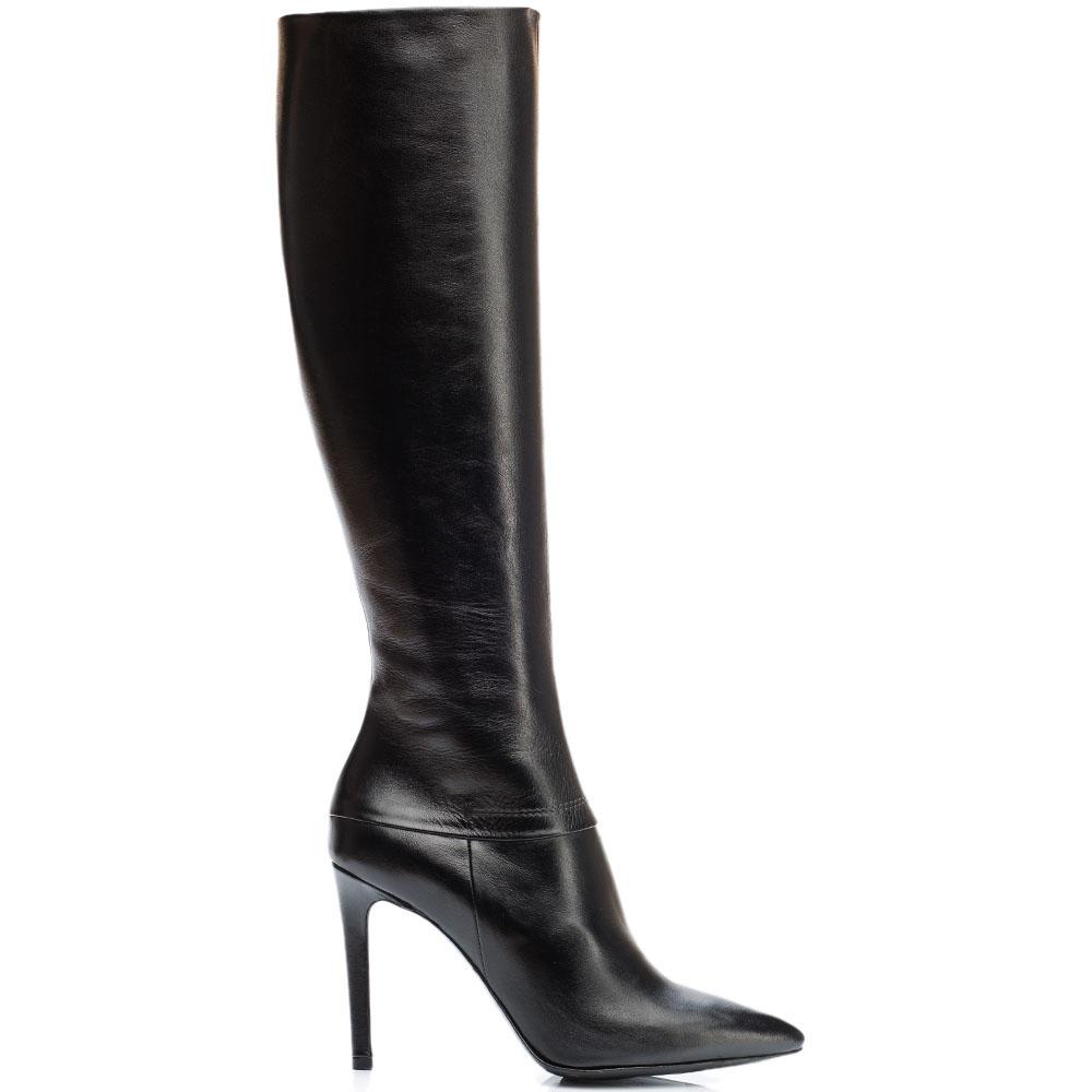 Кожаные сапоги Reda Milano черного цвета с узким носочком