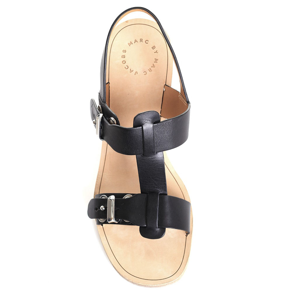Босоножки из черной кожи Marc by Marc Jacobs на толстом каблуке