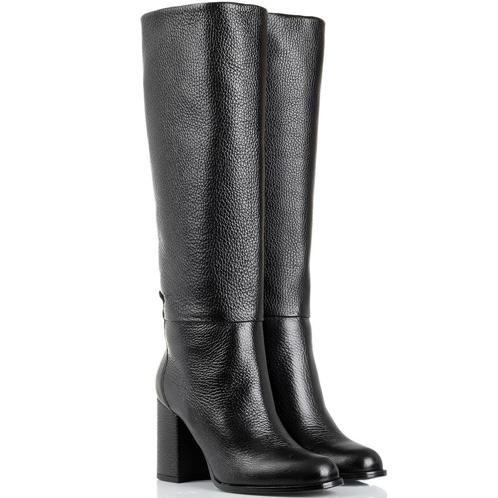 Кожаные зимние сапоги Reda Milano черного цвета на толстом каблуке