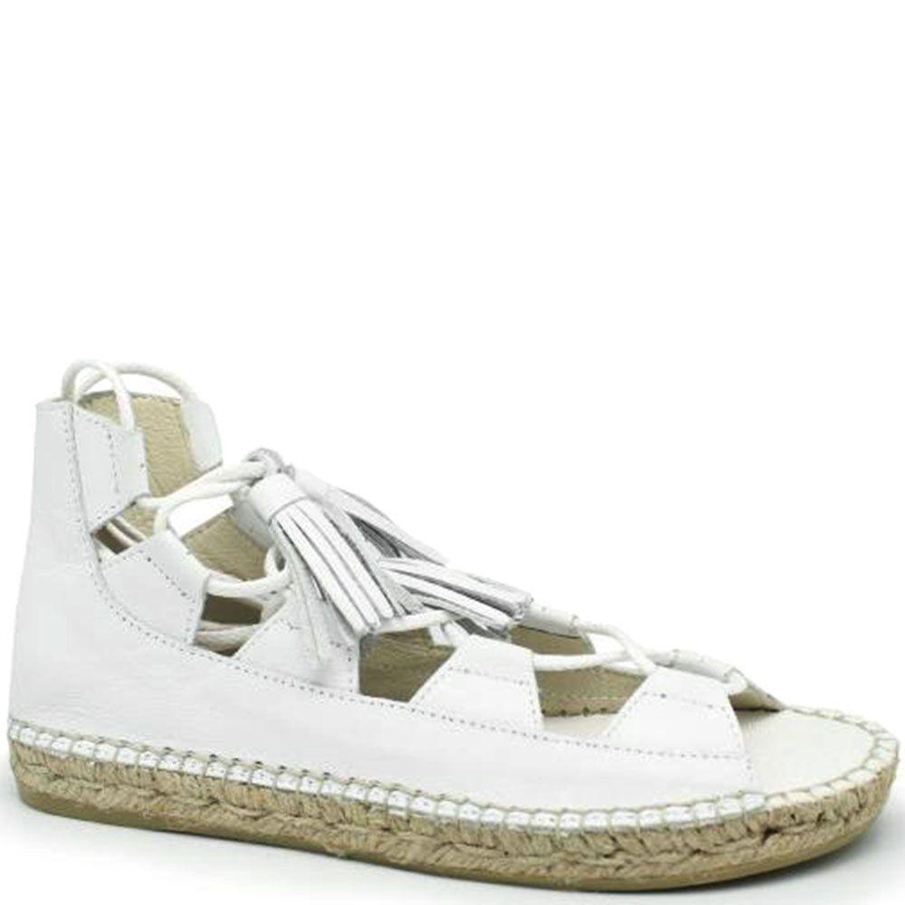Кожаные белые высокие сандалии на джутовой подошве Vidoretta с кисточками