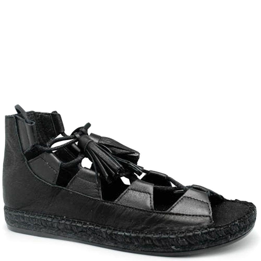 Кожаные сандалии черного цвета Vidoretta на джутовой подошве