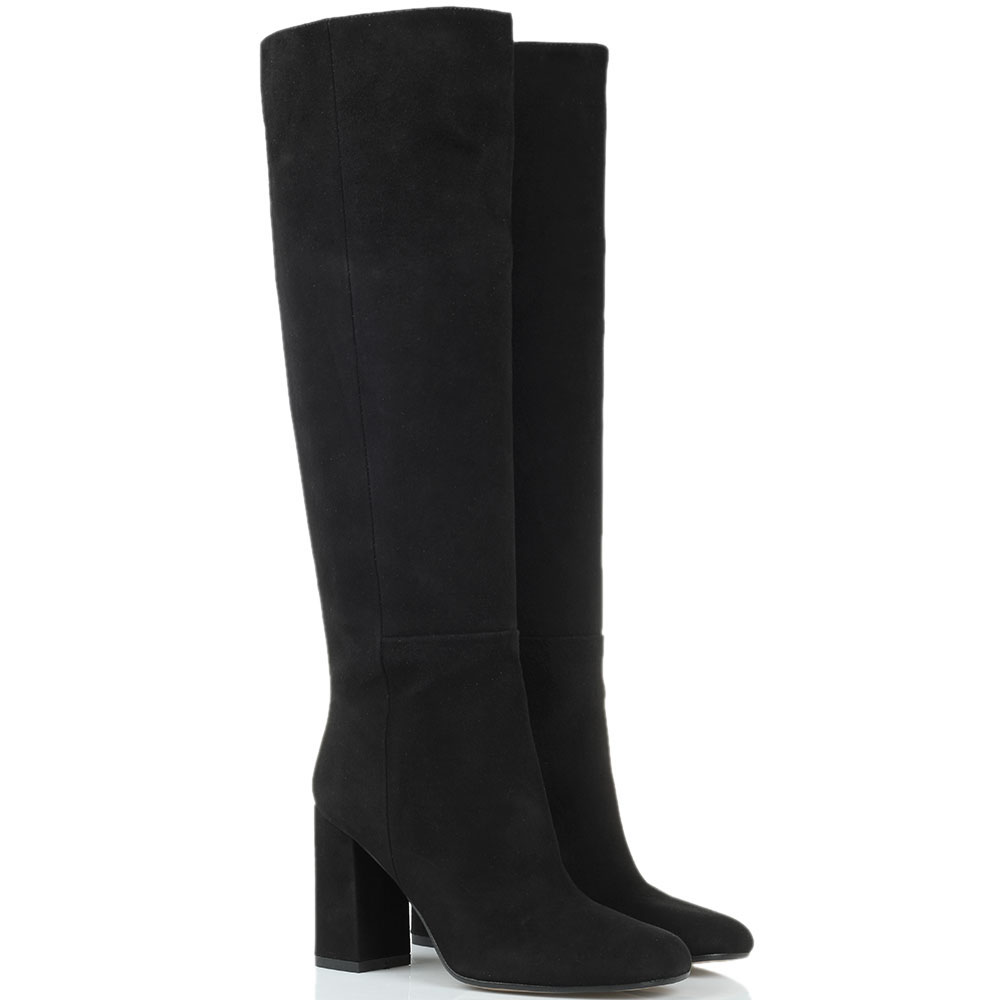 Замшевые сапоги черного цвета Bianca Di с закругленным носочком