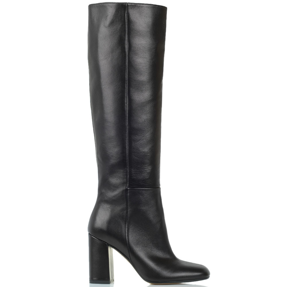 Черные кожаные сапоги Bianca Di на устойчивом каблуке