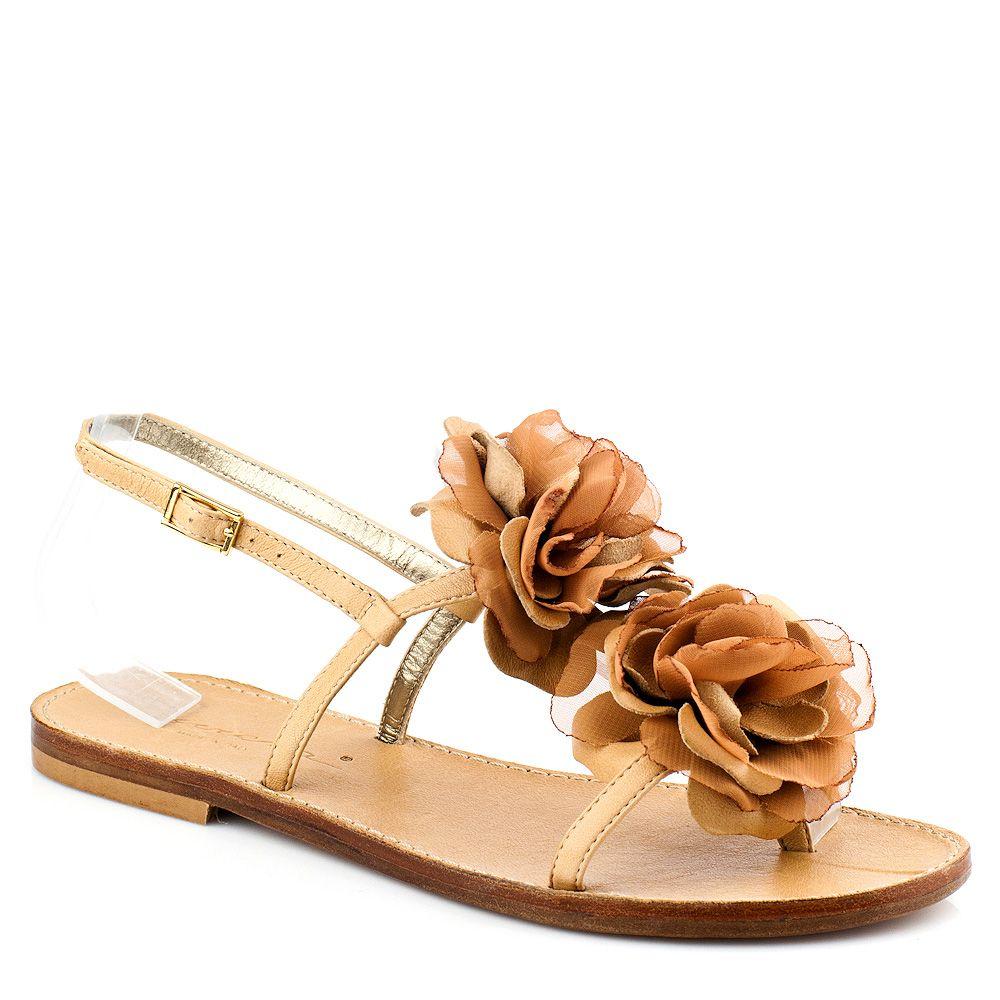Сандалии Riviera бежевые с шелковыми цветами