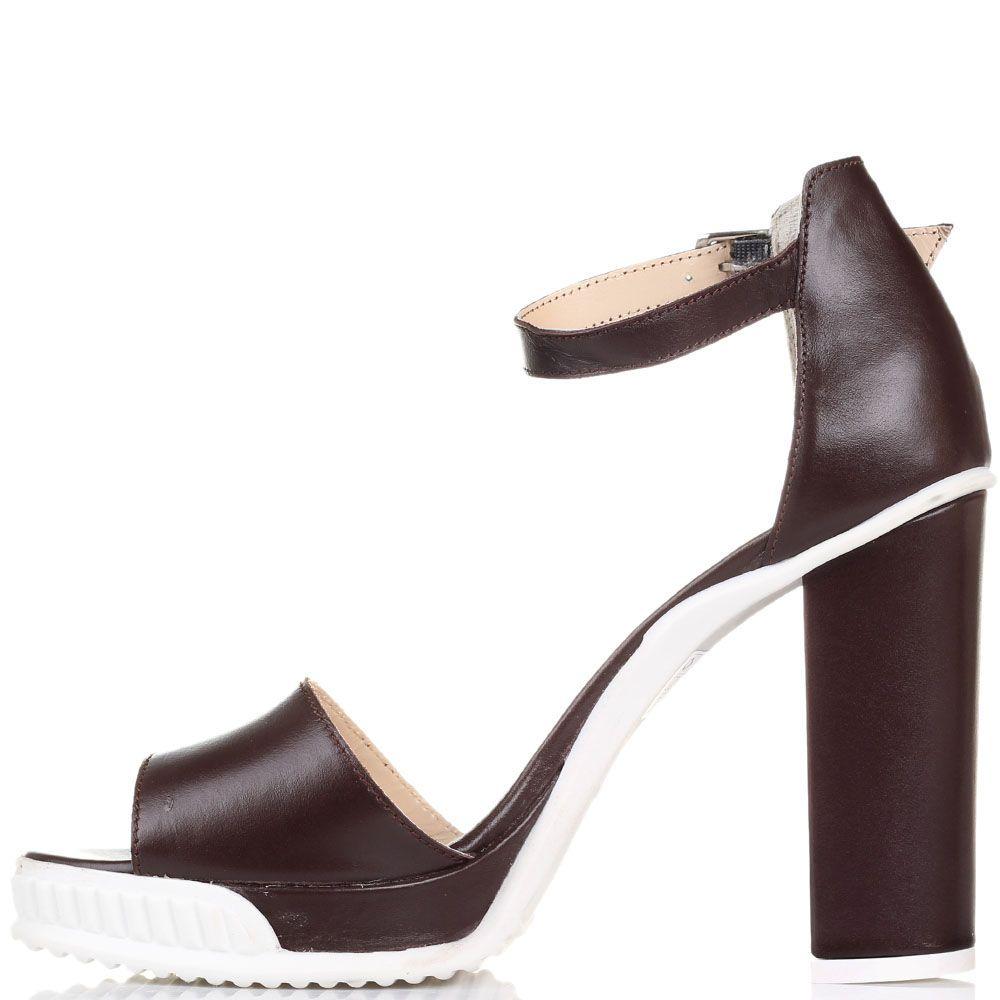 Босоножки Reda Milano из кожи коричневого цвета на устойчивом каблуке