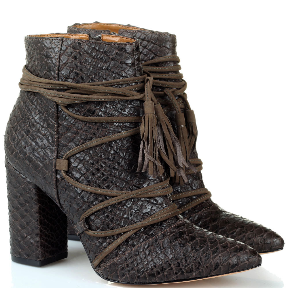 Ботильоны коричневого цвета Vicenza из кожи тисненой под рептилию с декоративной шнуровкой