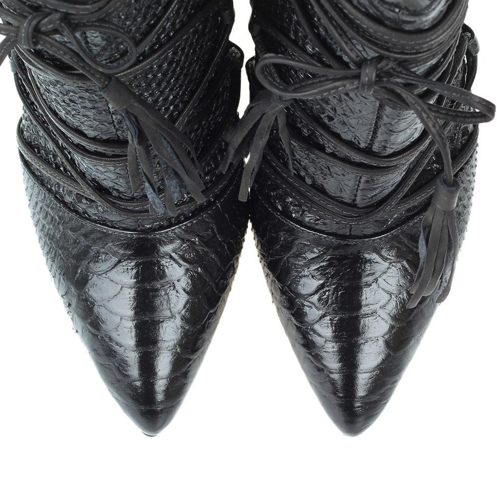 Ботильоны черного цвета Vicenza из кожи тисненой под рептилию с декоративной шнуровкой