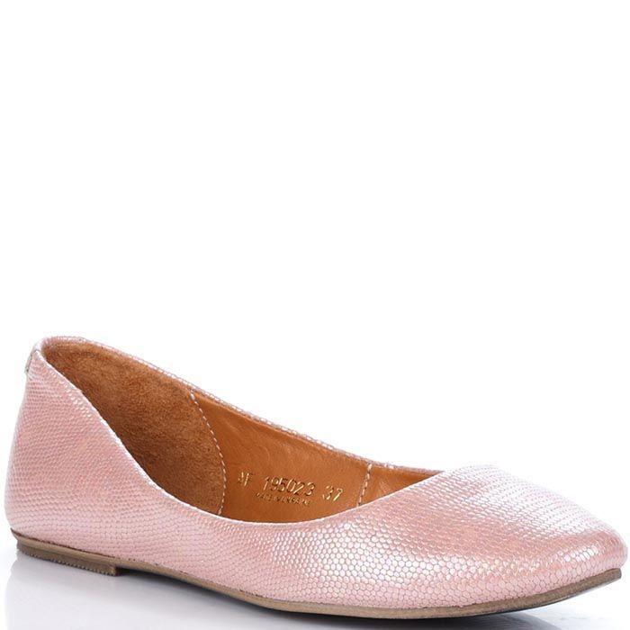Кожаные балетки Modus Vivendi розового цвета с перламутровым отливом