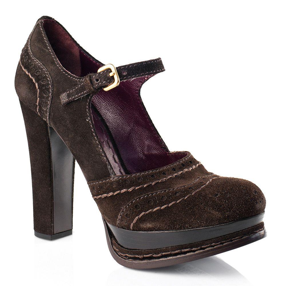 Замшевые туфли Prada на каблуке