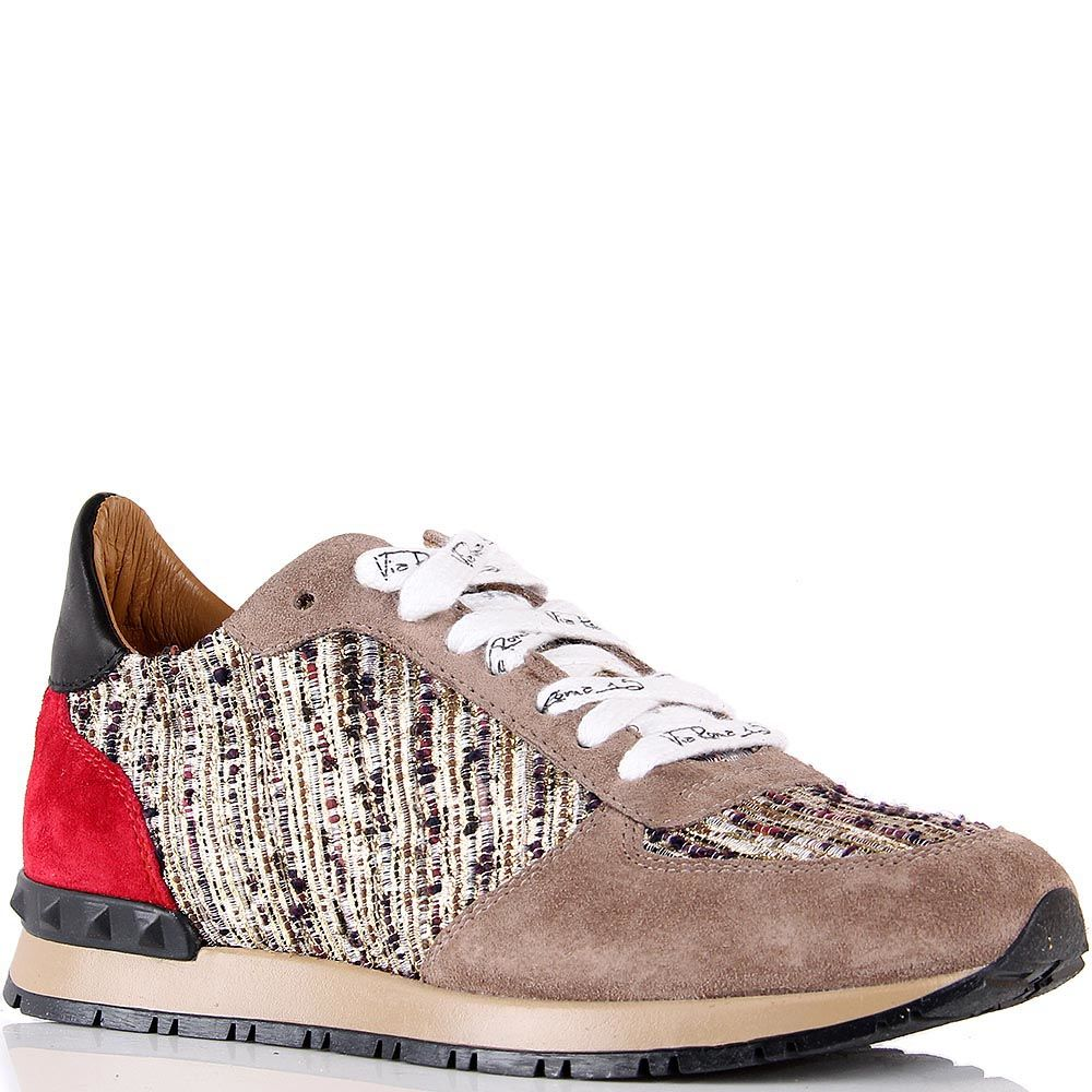 Кроссовки Via Roma 15 бежевого цвета замшевые с текстильной вставкой из золотистых нитей