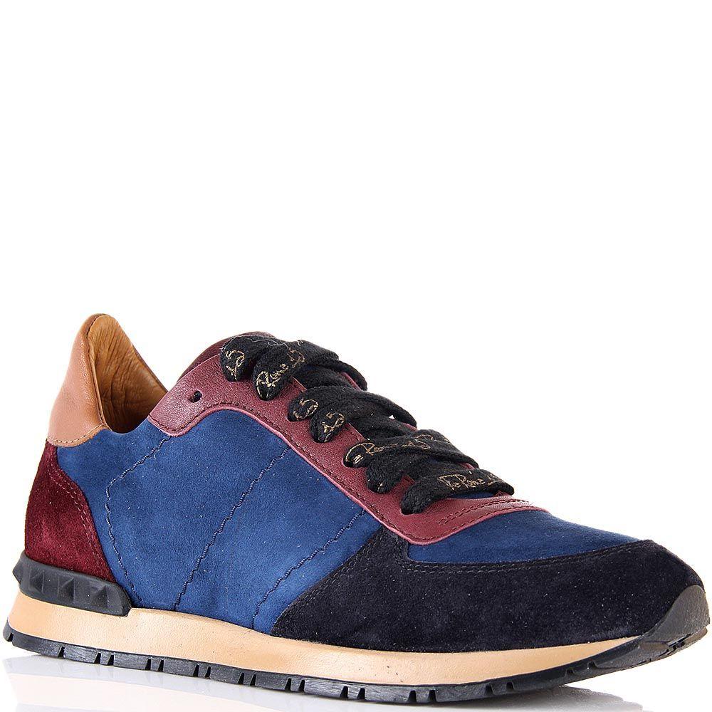 Кроссовки Via Roma 15 замшевые в сочетании синего и бордового цвета